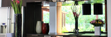 mirrored glass splashback