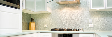 slumped glass splashback
